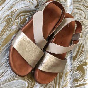 "Gentle souls gold ""get goin"" sandals"